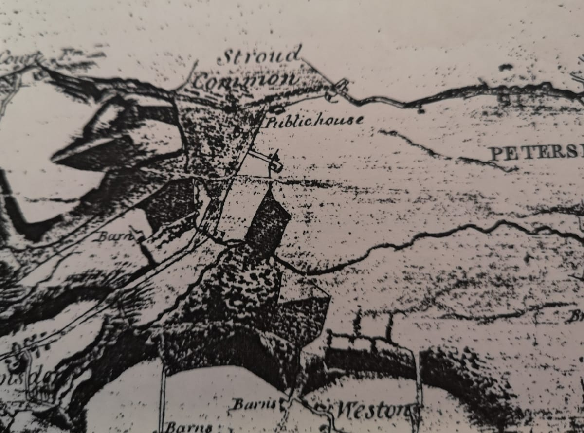 """1808 2"""" Drawing. This is a rather poor photocopy of the first Ordnance Survey map of our area. This is the '2""""Drawing' drawn from the surveyors sketches at a scale of 2 inches to the mile. The Drawing clearly shows Stroud Common crossed by the road to Petersfield (now the Winchester Road). Also shown is a Public House (today the Seven Stars) and buildings at the eastern tip of the Common which I presume represent Stroud Farm and the Red House. Nearby but on the south side of the road, is a further building which appears to be the location of Myrtle Farm and which is an early 19th Century building and presumably just constructed by 1908. Ramsdean Road passes south from the Public House along the eastern edge of the common and off which a track leads east towards a building which appears to be Holmwood Cottage (and which track today passes the school). Further south is a block of woodland (Holmwood and later Furzefield Copse. At the bend in Ramsdean Road is a building and which is probably the 16th Century Stroudbridge Farmhouse. The Criddell Stream is shown but the land between the stream and the Winchester Road appears completely open."""
